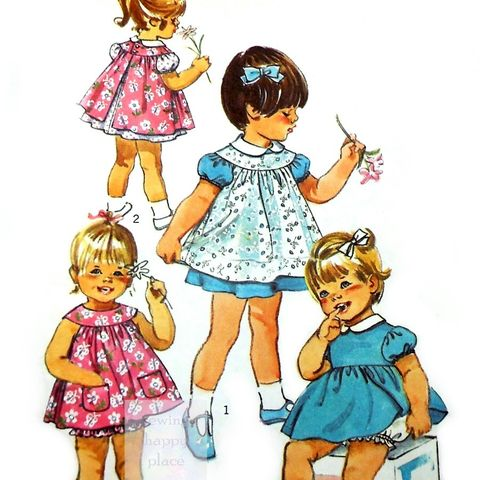 Toddler,Girls,Dress,Pinafore,1970s,Pattern.,Bubble,Pants,Crawlers,Sun,Top.,Simplicity 9289, vintage toddler clothes, sewinghappyplace