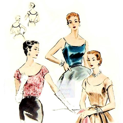 Vtg,Fitted,Dressy,Blouse,Cami,Top,1950s,Pattern.,Cap,Sleeves,or,Spaghetti,Strap.,Vogue 8100, deep scoop neckline, flirty blouse patterns, sewinghappyplace
