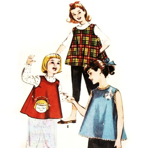 Girls,Trapeze,Tunic,Artist,Smock,1950s,Pattern.,Play,Coverup.,Angel,Pocket.,McCalls 2235, toddler, play top, messy play coverup, applique pocket, art smock, sewinghappyplace