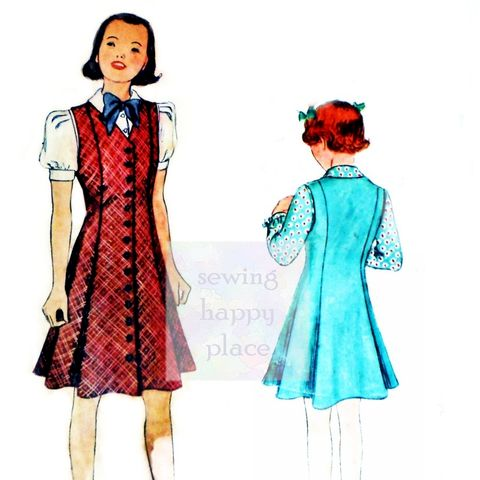 McCall,9093.,Girls,Blouse,and,Princess,Jumper,1930s,Pattern.,Pre,WW2.,30s, girls, dress, sewinghappyplace