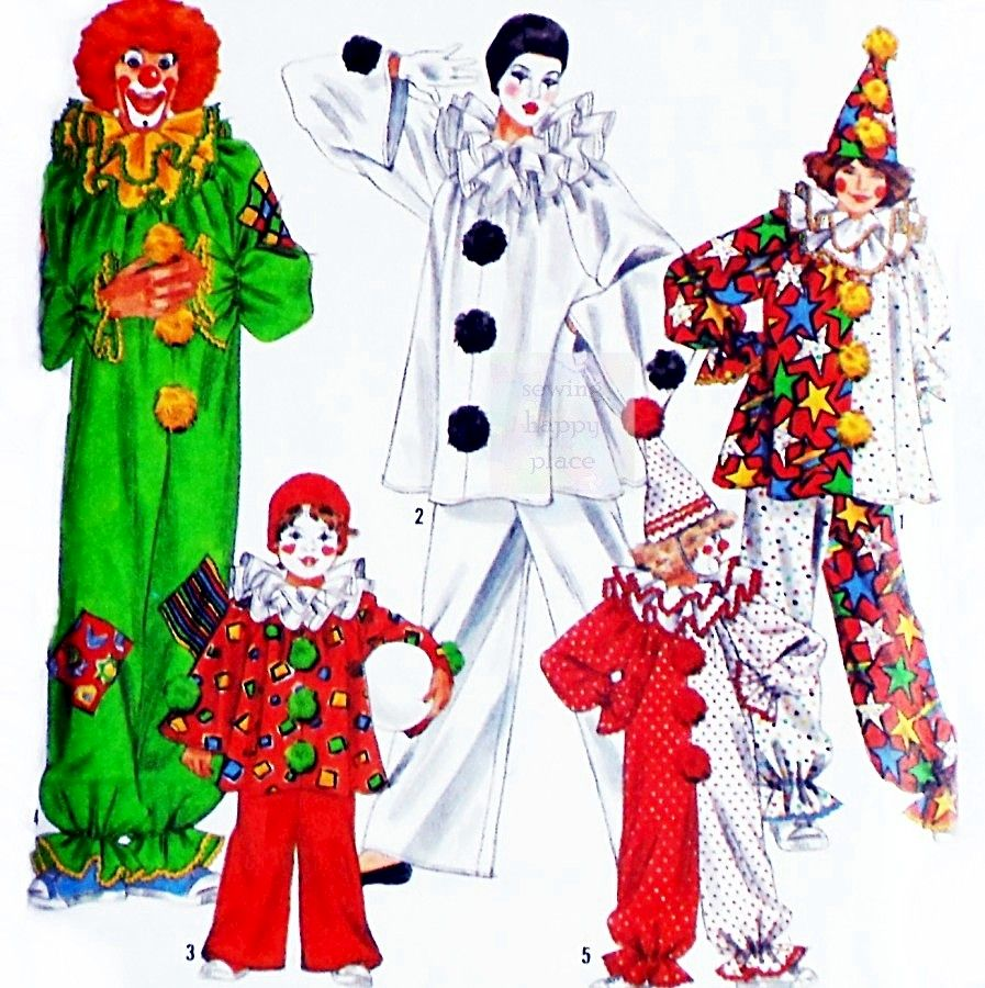 Toddler Childs Clown Costume sz 2 - 12. One piece jumpsuit or 2 piece. - product images  of