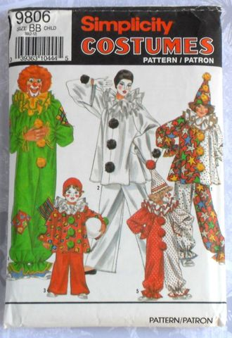 Toddler,Childs,Clown,Costume,sz,2,-,12.,One,piece,jumpsuit,or,piece.,costume, pattern, boys, girls, sewinghappyplace kids patterns