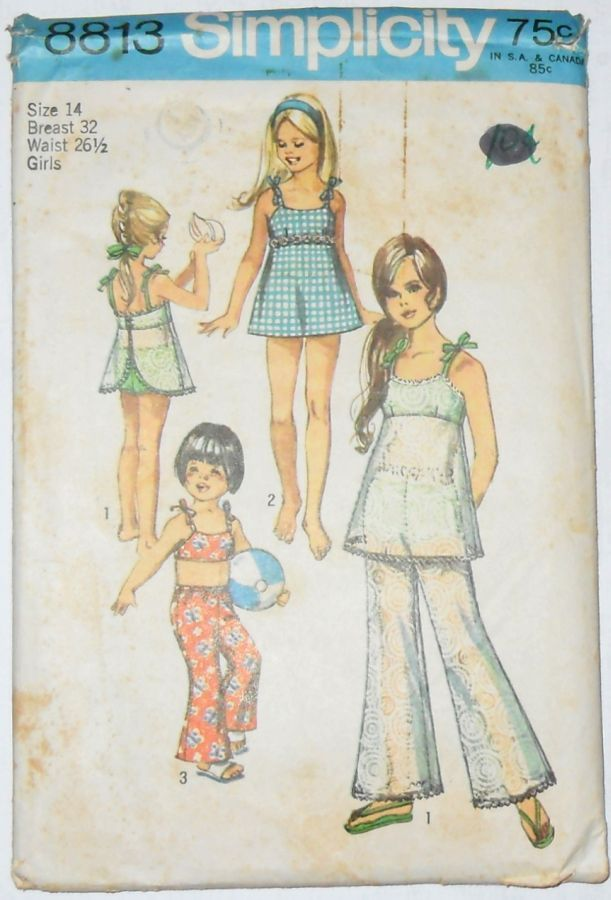 Girls Bathing Suit Sun Top Pants 1970s Pattern Empire Top Bell Bottom Pants - product images  of
