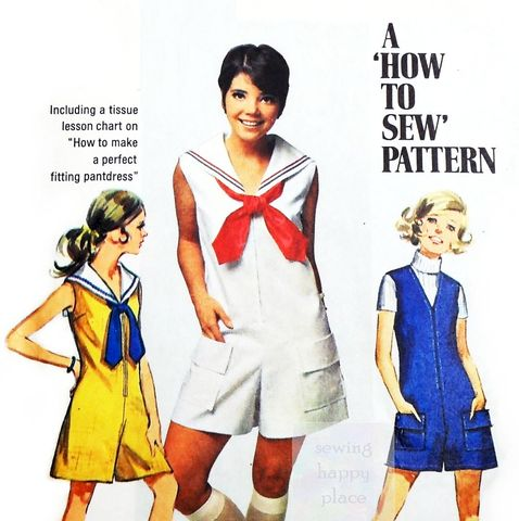 V,Neck,Culottes,Jumpsuit,1960s,Pattern.,Sailor,Collar,w,Tie.,Zip,Front.,Vintage, 60s, Sewing Pattern, V Neck, Culottes, Jumpsuit, Sailor Collar, Tie option, Zip Front, Pantdress, Scooterdress, Simplicity 8062