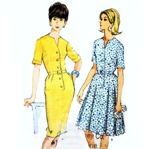 Fitted,Bodice,Dress,1960s,Pattern.,Slim,Pencil,Wiggle,Skirt.,Box,Pleat,vintage 60s patterns, sewinghappyplace, Mad Men, office wear, notch v neckline, wiggle skirt