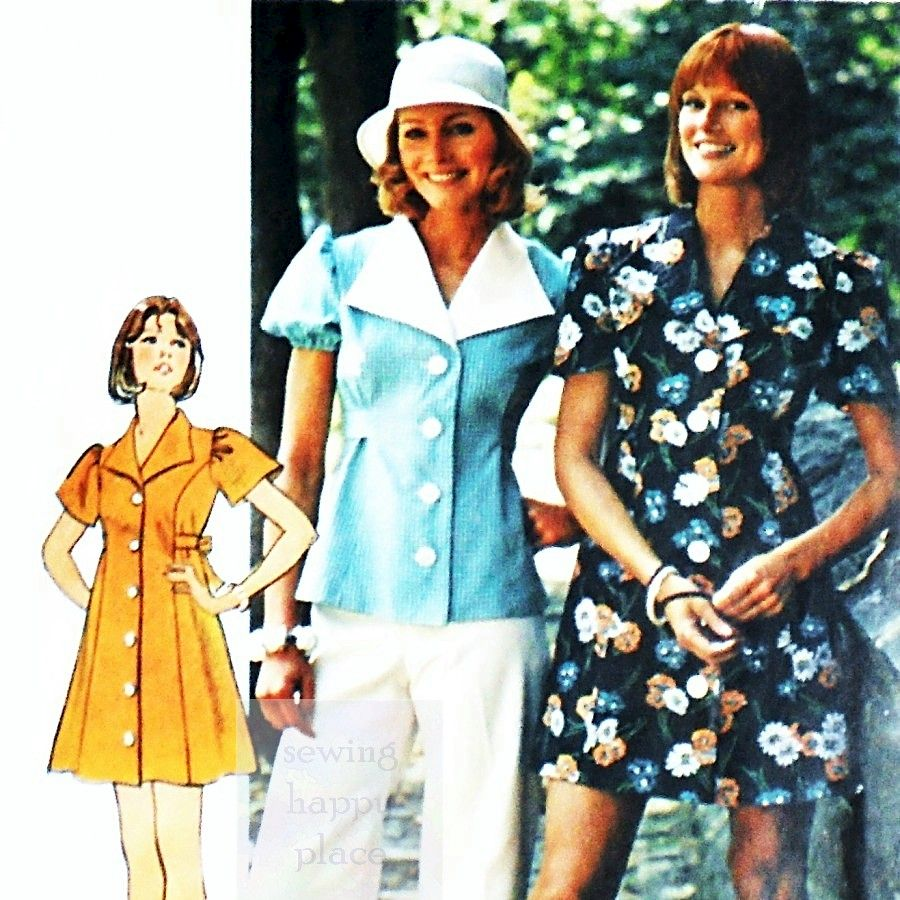 Mini Dress or Tunic Top 1970s Pattern. Wing Collar. Bell or Puff Sleeve. - product images  of