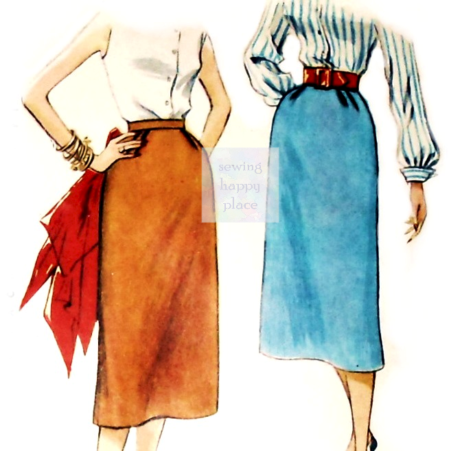 Slim Straight Skirt 1950s Pattern. Pencil Wiggle Skirt. One Yard Pattern. Simplicity 4254. - product images  of