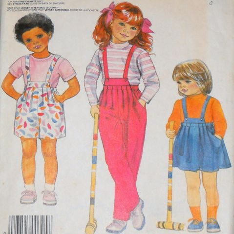 Toddler,Girl,Suspender,Separates,1980s,Pattern.,Skirt,Pants,Shorts,w,Pleats.,Top., sewinghappyplace, toddler girls pattern, play clothes, McCalls 2595