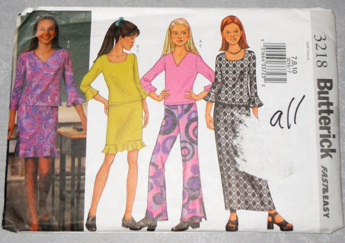 Girls Knit Separates 90s Pattern. Flirty Ruffle Flounce. Top, Neckline Options, Skirt, Pants. - product images  of