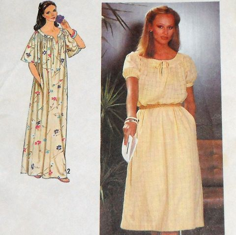 Romantic,Pullover,Dress,1970s,Pattern.,Flowy,Relaxed,Fit.,Caftan.,Muu,Muu.,Maxi,Dress.,sewinghappyplace, 1970s womens fashion, moo moo dress, mu mu dress, Mrs Roper dress, Simplicity 8979