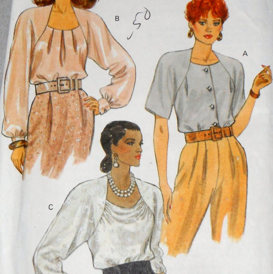 Dressy Blouses 90s Pattern. Flowy Draped Fit. Deep Soft Raglan Sleeve. Vogue 8231  - product images  of