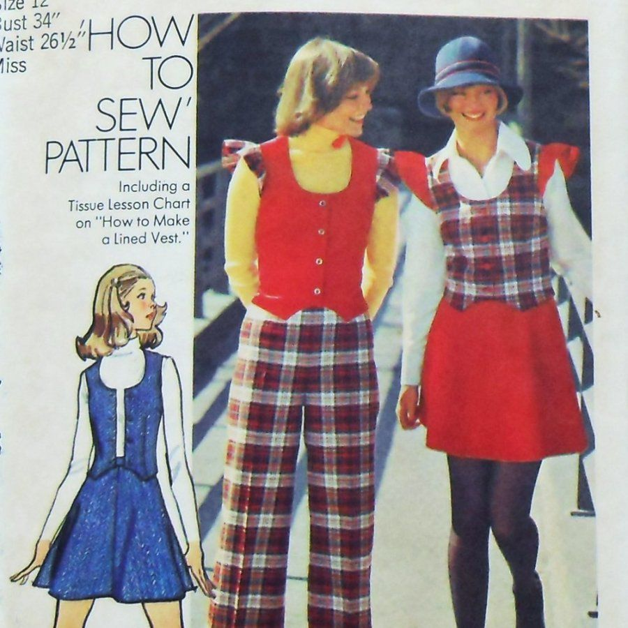 Short Sassy Skirt. 70s Pattern Vest Skirt Pants. Retro Cheerleader. Simplicity 5852  - product images  of