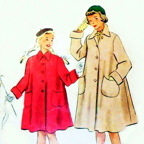 Girls,Stadium,Coat,1950s,Pattern,Aline,Swing,Relaxed,Fit,Full,Cut,McCalls,8664, sewinghappyplace, vintage, sewing pattern, 50s, Girls, Stadium Coat, Full Cut, Swing Coat, McCall's 8664