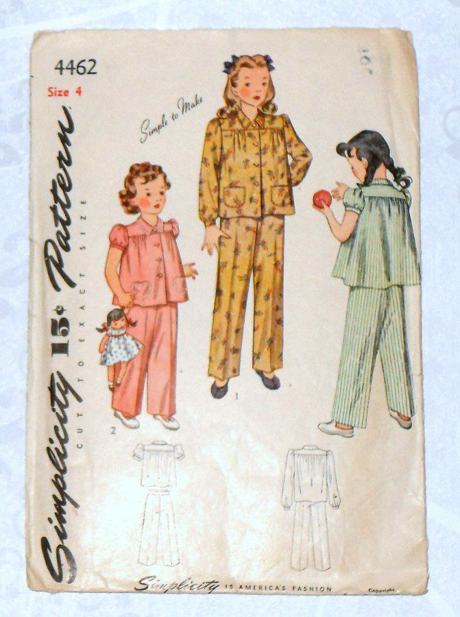 Toddler Girls Pajamas 40s Pattern Heart Pockets Gathered Yoke Long Pants Simplicity 4462  - product images  of