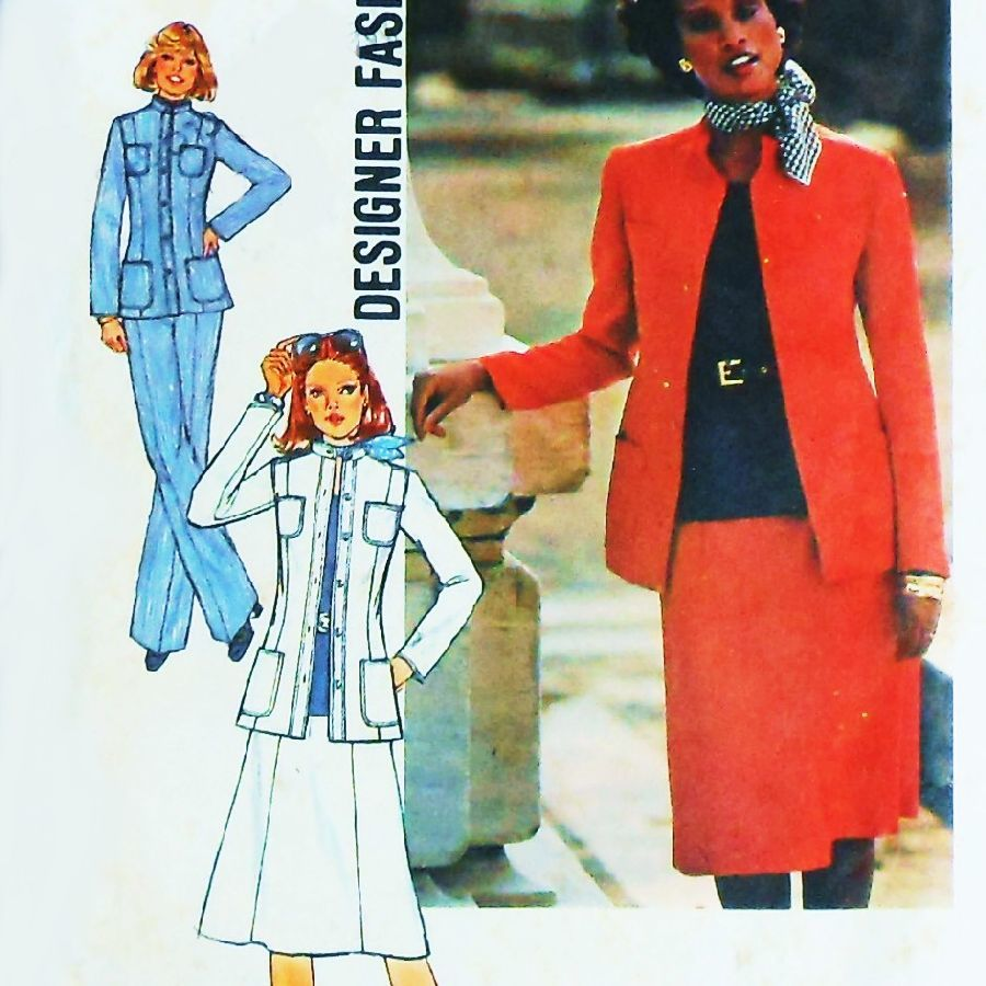 Tailored Suit 70s Pattern Jacket Skirt Pant Princess Lines Office wear Simplicity 7878  - product images  of