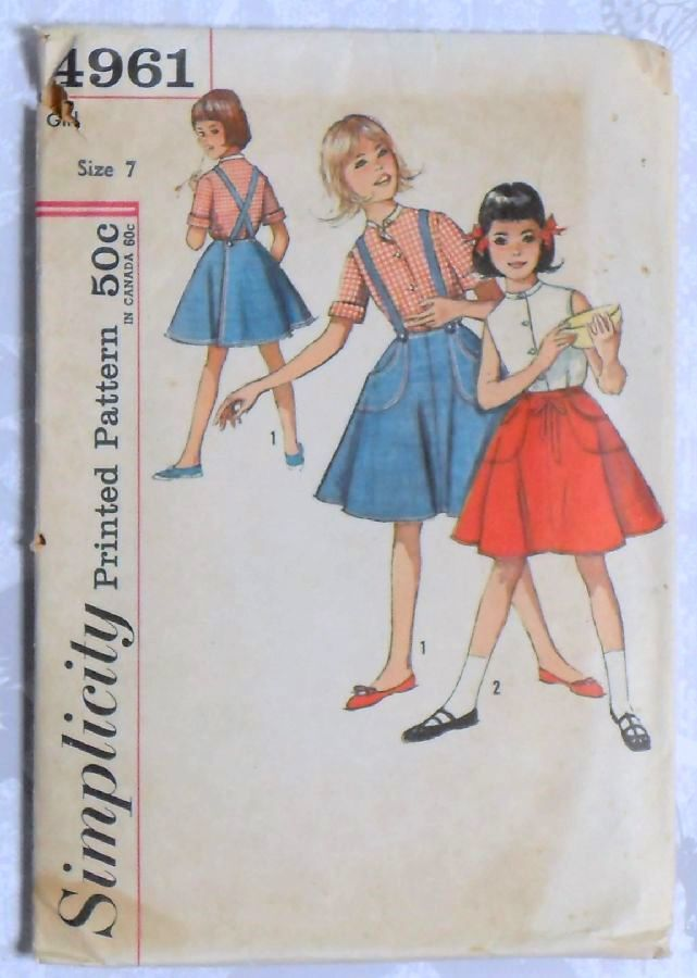 Girls Wrap Skirt Blouse 1960s Pattern Suspenders sz 7 Circle Skirt Simplicity 4961  - product images  of