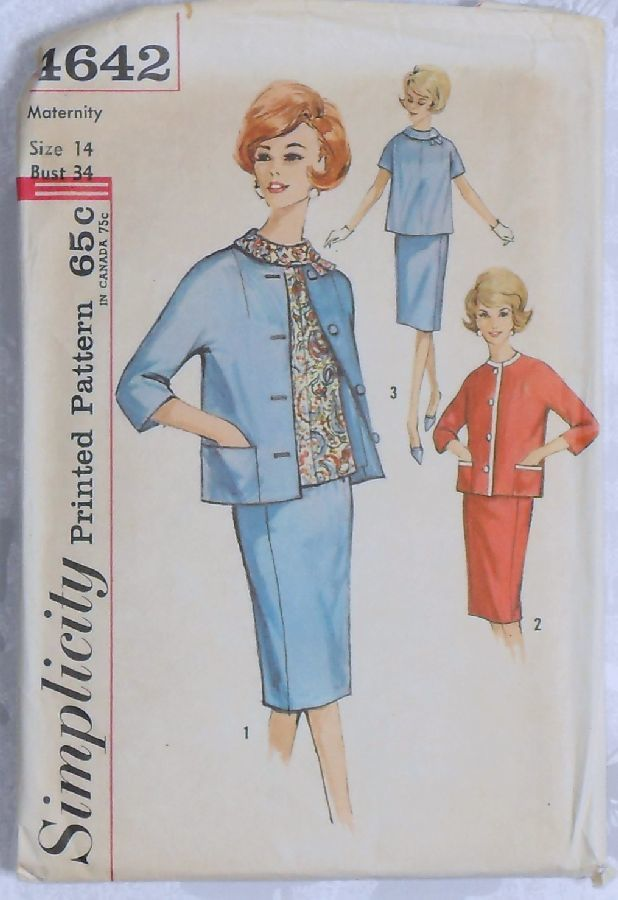 Maternity Jacket Top Skirt 60s Pattern Cropped Kimono Jacket Mad Men Simplicity 4642 - product images  of