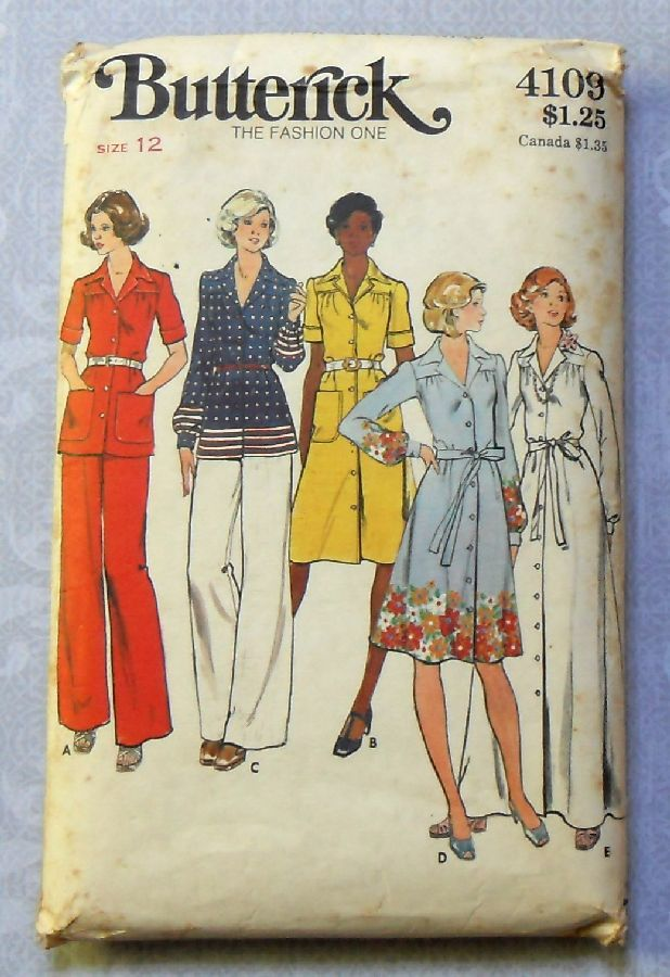 Semi Fitted Shirtdress 1970s Pattern Gown sz 12 b34 Office Evening Butterick 4109 - product images  of