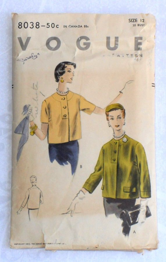 Cropped Box Jacket 1950s Pattern. Jewel Neck. Button Dtl. Slv Options. Vogue 8038 - product images  of
