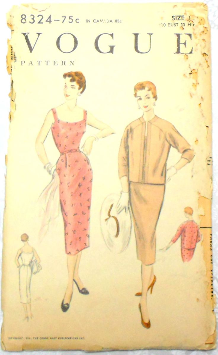 Curve Hugging Sundress with Wiggle Skirt vtg 50s Pattern. Box Jacket. Vogue 8324 - product images  of