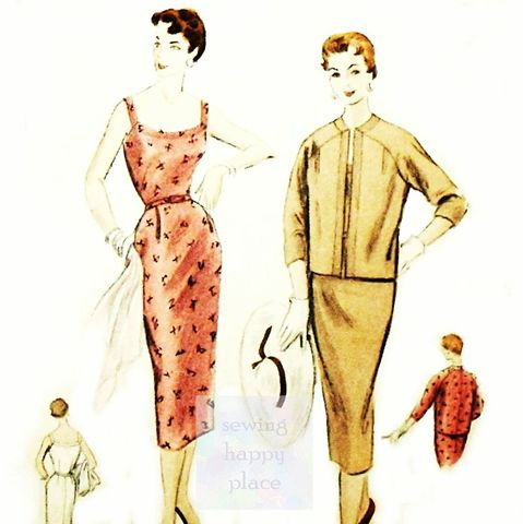 Curve,Hugging,Sundress,with,Wiggle,Skirt,vtg,50s,Pattern.,Box,Jacket.,Vogue,8324,sewinghappyplace, Sewing Pattern, Vintage