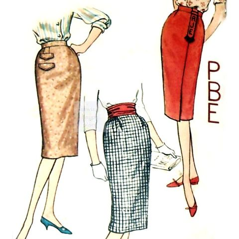 Very,Slim,Pencil,Wiggle,Skirts,vtg,1950s,Pattern.,One,Yard,Monogram.,sewinghappyplace, Sewing Pattern, Vintage