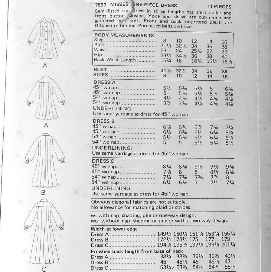Shirtdress w Tucks Released Pleats. 1970s Pattern. Street Length or Maxi - product images  of