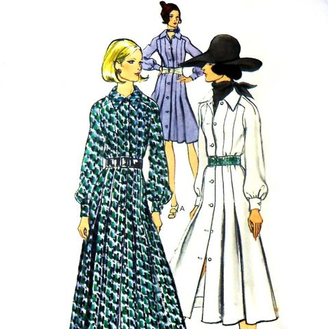 Shirtdress,w,Tucks,Released,Pleats.,1970s,Pattern.,Street,Length,or,Maxi,sewinghappyplace, Sewing Pattern, Vintage