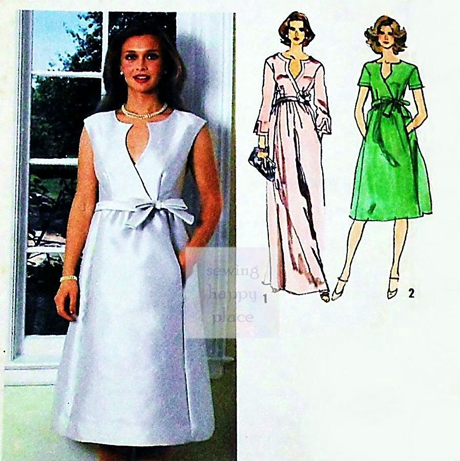 Wrap Front Dress Special Occasion 1970s Pattern. MOB. Evening Cocktail - product images  of