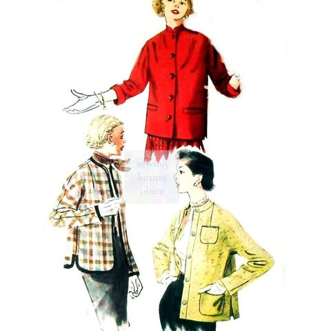 Kimono,Sleeve,Jacket,vtg,1950s,Pattern.,Mandarin,Collar.,Braid,Trim.,sewinghappyplace, Sewing Pattern, Vintage