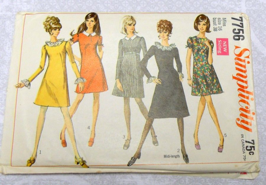 Dressy Aline w Low Round Neck 1960s Pattern. Ruffle Collar Cuffs. Mini - product images  of