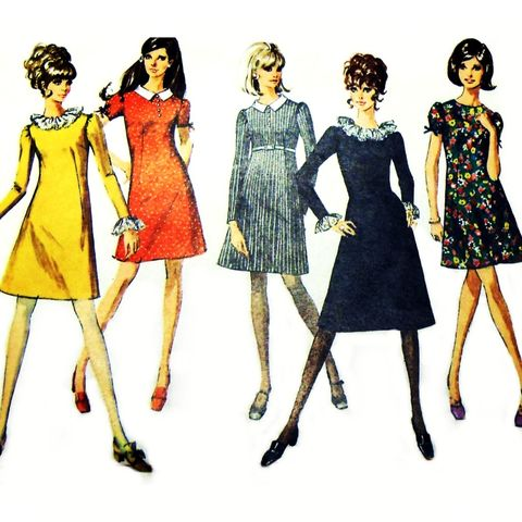Dressy,Aline,w,Low,Round,Neck,1960s,Pattern.,Ruffle,Collar,Cuffs.,Mini,sewinghappyplace, Sewing Pattern, Vintage