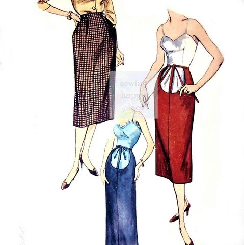 Straight,Slim,Maternity,Skirt,2,Lengths,1950s,Pattern.,Adjust,Waist,sewinghappyplace, Sewing Pattern, Vintage