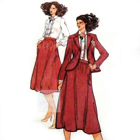 Tailored,Suit,1970s,Pattern.,Calvin,Klein.,Jacket,Dirndl,Skirt,Blouse.,sewinghappyplace, Sewing Pattern, Vintage