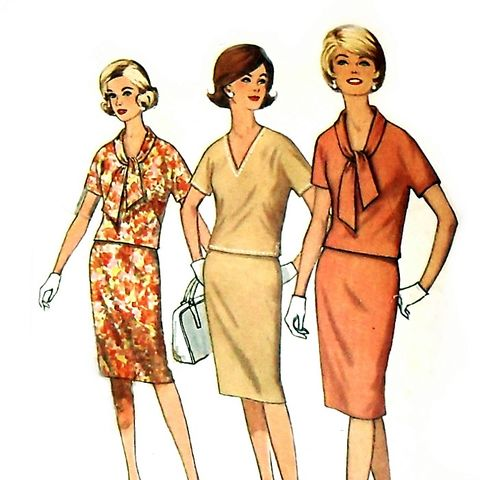 Slim,2,Pc,Dress,1960s,Pattern.,Kimono,Sleeves,Wiggle,Skirt.,Uncut.,Mad,Men,Dress.,sewinghappyplace, Sewing Pattern, Vintage