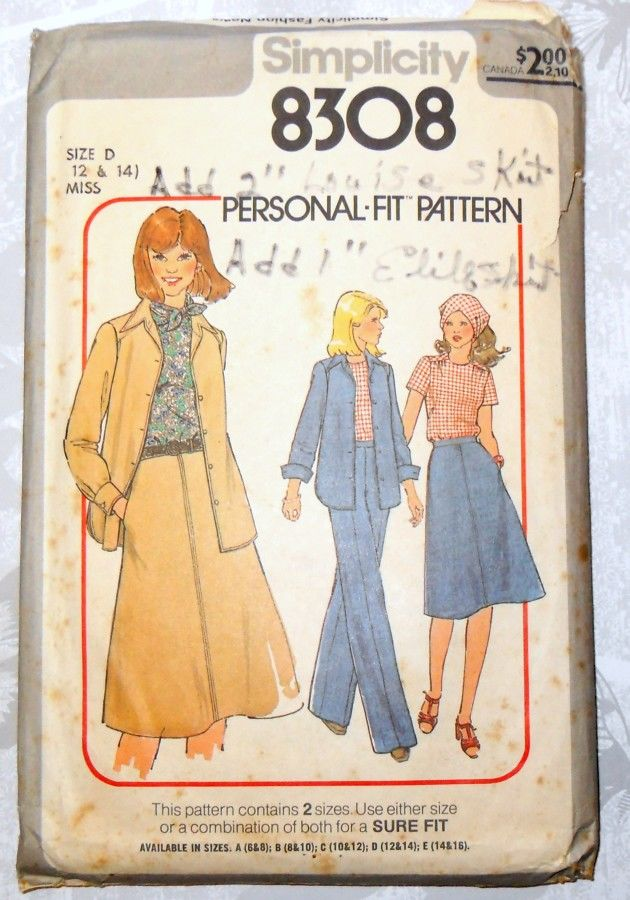 Weekender Basic Separates 1970s Pattern. Pants, Skirt, Jacket, Top. Perfect for Denim. - product images  of