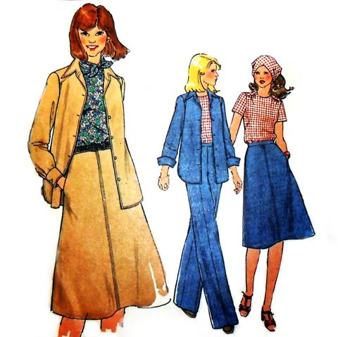 Weekender,Basic,Separates,1970s,Pattern.,Pants,,Skirt,,Jacket,,Top.,Perfect,for,Denim.,sewinghappyplace, Sewing Pattern, Vintage