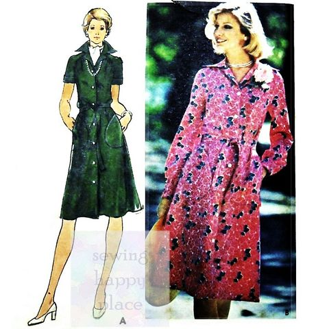 Body,Skimming,Shirtdress,1970s,Pattern.,Button,Front.,Belted.,Slimmer,sewinghappyplace, Sewing Pattern, Vintage