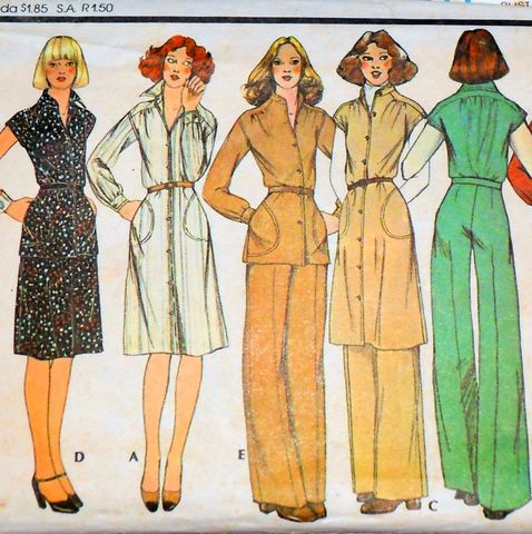 Relaxed,Shoulder,Shirtdress,or,Tunic,70s,Pattern.,Pants.,Skirt.,Office.,sewinghappyplace, Sewing Pattern, Vintage