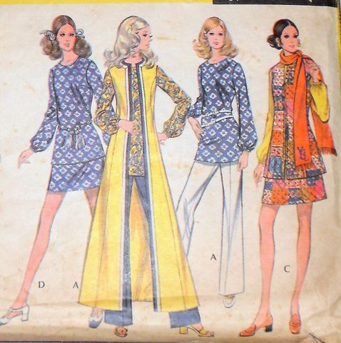 Mod,Separates,1970s,Pattern.,Dress,Tunic,Duster,Skirt,Pants.,Blouse.,sewinghappyplace, Sewing Pattern, Vintage