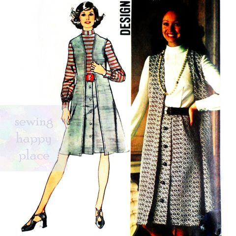 Duster,Dress,1970s,Pattern.,Long,Vest.,Office,Day,Wear.,Soft,Gathers.,sewinghappyplace, Sewing Pattern, Vintage