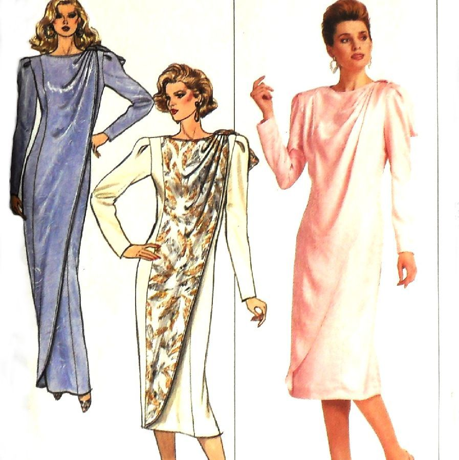 Diva Column Dress w Drape/ 1980s Pattern/ Evening Length/ Dressy/ FF - product images  of