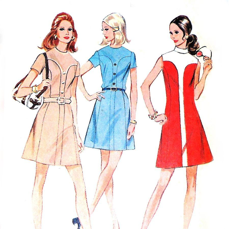 Mod Color block A line Dress. 1970s Pattern. Front Tab Contrast - product images  of