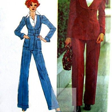 Fitted,Jacket,Pants,1970s,Pattern,Waistband,Inset,Rounded,Collar,sewinghappyplace, Sewing Pattern, Vintage