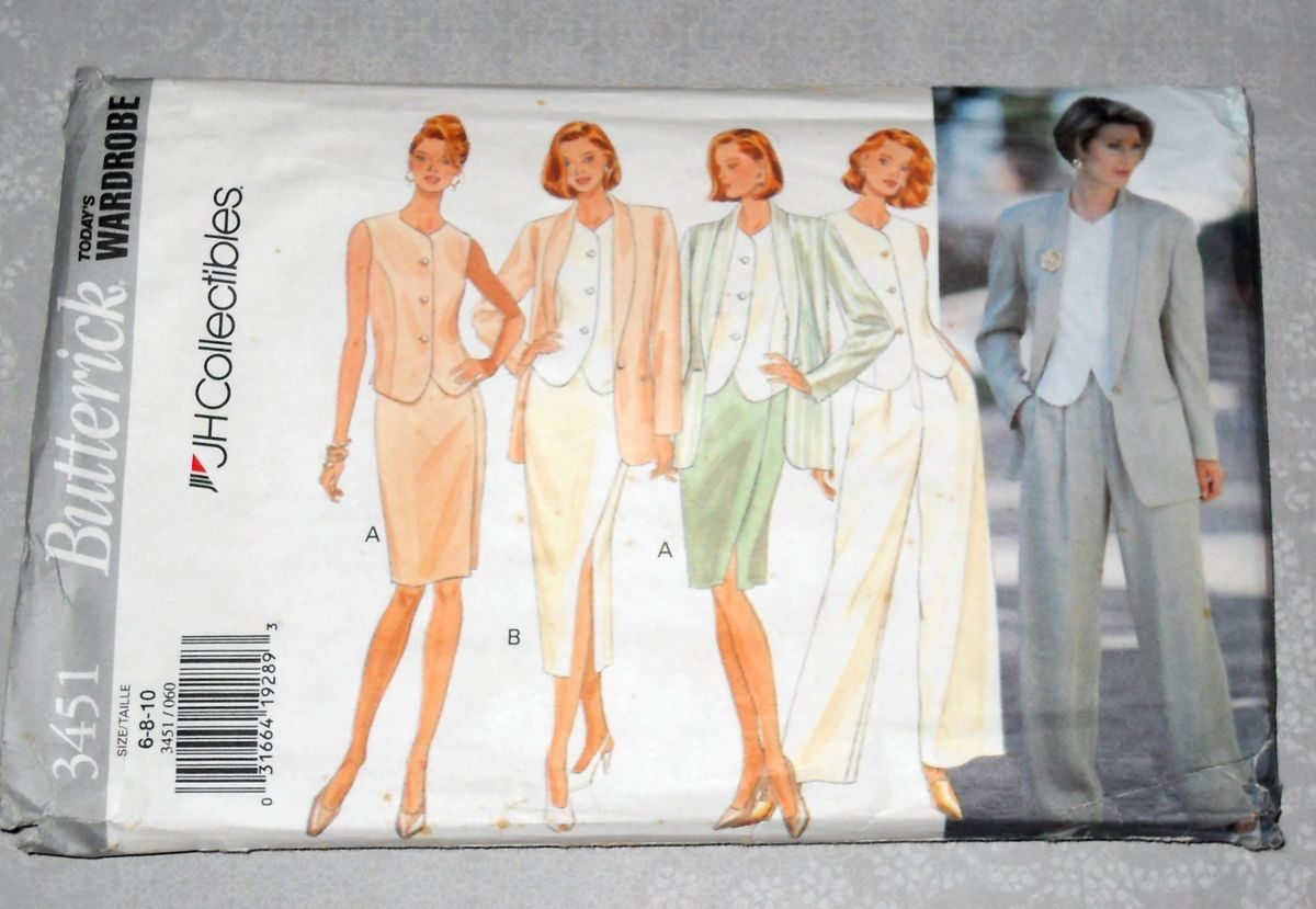 Suit and Blouse 1990s Pattern. JH Collectibles Designer. Relaxed Soft Tailoring - product images  of
