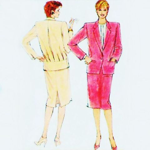 Tahari,Designer,Suit,and,Blouse/,1980s,Pattern/,Jacket,w,Back,Pleat,Interest,sewinghappyplace, Sewing Pattern, Vintage