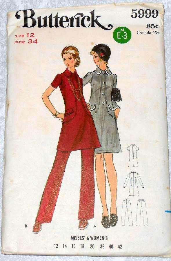 Dress Tunic Pants 1970s Pattern. Mod Retro. A Line. Seam Detail Interest - product images  of