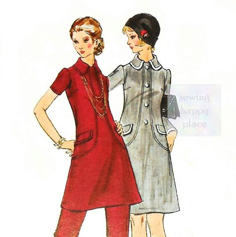 Dress,Tunic,Pants,1970s,Pattern.,Mod,Retro.,A,Line.,Seam,Detail,Interest,sewinghappyplace, Sewing Pattern, Vintage