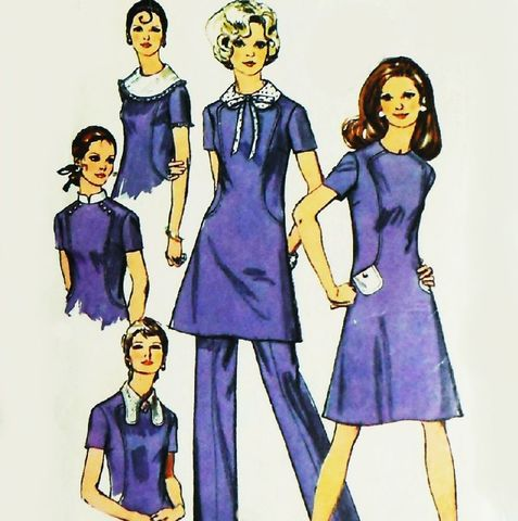 Mini,Dress,w,Collar,Options.,1970s,Pattern.,Tunic,Pants.,Mandarin.,Bow.,sewinghappyplace, Sewing Pattern, Vintage
