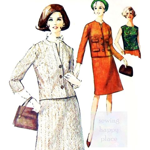 Suit,and,Blouse.,1960s,Pattern.,Two,Smart,Jacket,Options.,sewinghappyplace, Sewing Pattern, Vintage